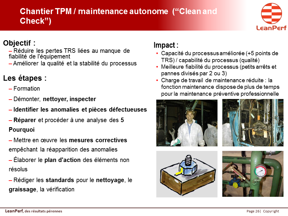 "Chantier TPM / maintenance autonome  (""Clean and Check"")"