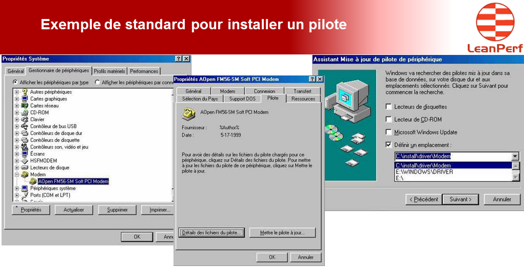 Lean en IT LeanPerf : Exemple de standard pour installer un pilote