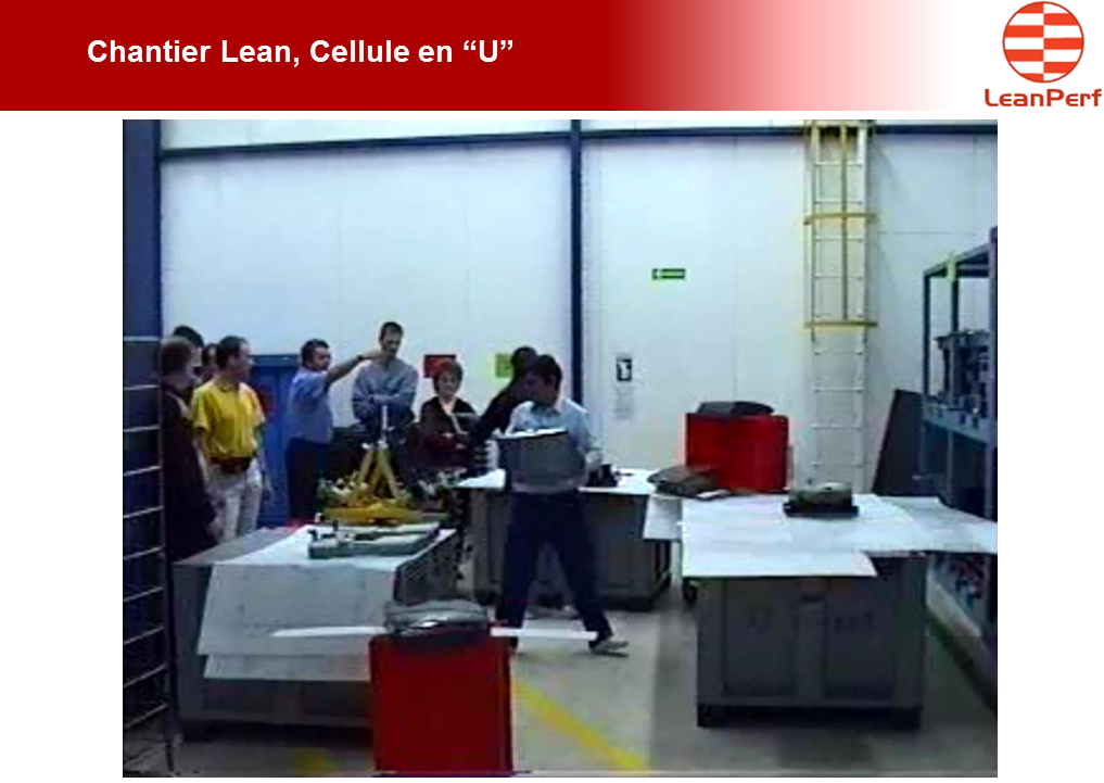 Chantier Lean cellule en U implantation lean manufacturing LeanPerf