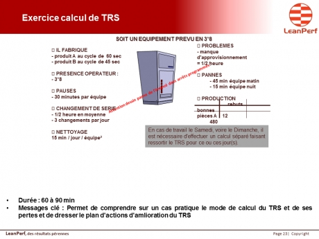 Exercice calcul TRS